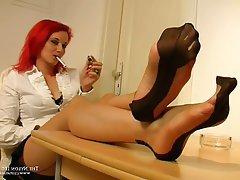 Foot Fetish, Handjob, Pantyhose, Redhead, Stockings