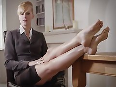Blonde, Femdom, Foot Fetish, Mistress, Stockings