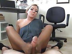 Footjob, Masturbation, Office