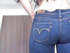 Brunette, High Heels, Jeans