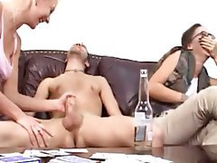 Amateur, Close Up, Handjob, Threesome