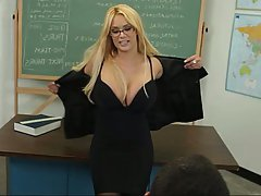 blowjob glasses blonde