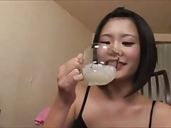 Hardcore swallow Asian bukkake