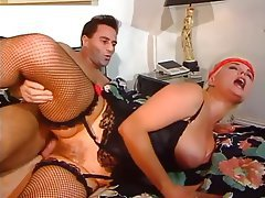 Big Boobs, Hairy, Stockings, Threesome
