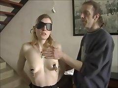 BDSM, Blonde, Masturbation, Stockings